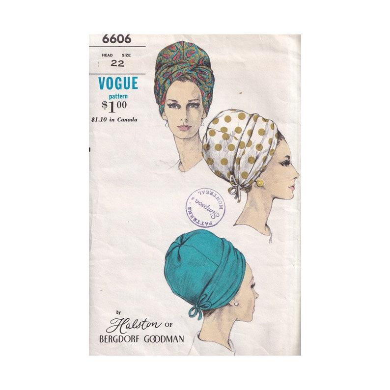 Original 60s Vogue Turban Hat 6606 Halston of Bergdorf Goodman image 0