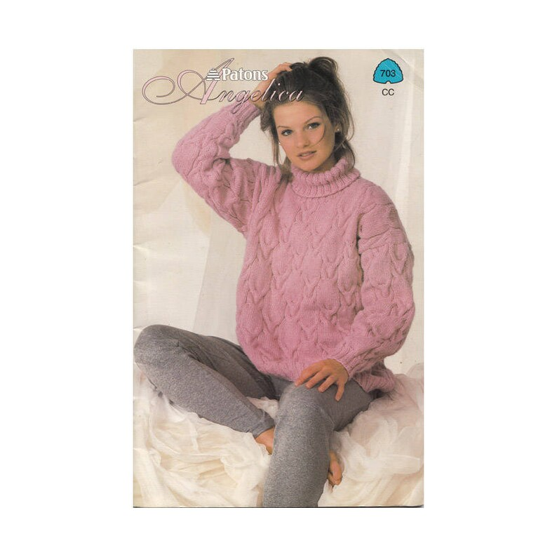 5e33e561ff3362 Womens Sweaters Vintage 90s Patons Knitting Patterns 703 Bust