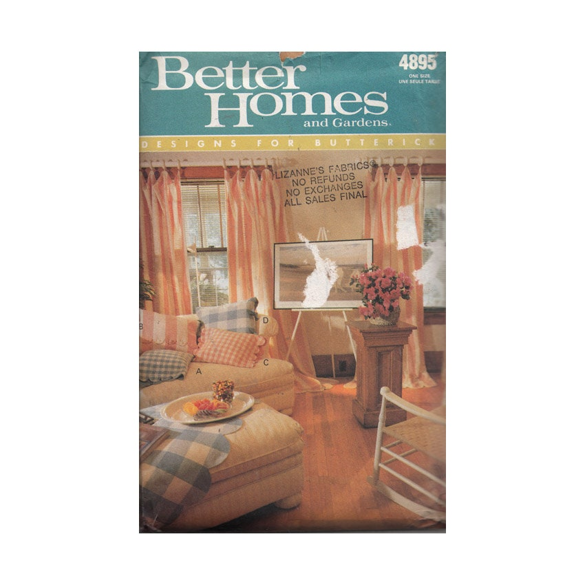 Home Decor Sewing Ideas: Uncut 90s Home Decor Sewing Pattern Butterick 4895 Pillow