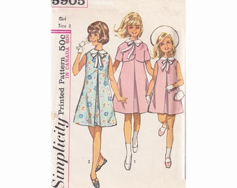 50s Girls A Line Dress with Centre Front Pleat and Jacket Simplicity 5905 Size 8 Breast 26 Sleeveless Dress Vintage Childrens Sewing Pattern