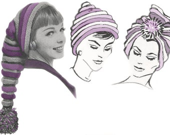 Vintage 50s Hat Knitting Pattern PDF 1950s Long Stocking Cap with Pom Pom, Beehive Hat or Turban Instant Digital Download Retro Hats