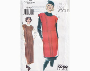 90s Easy Long or Short jumper and Top Vogue Designer Pattern 7111 Size 12-16 Bust 34-38 Loose Fit / A line/ Above Knee or Above Ankle