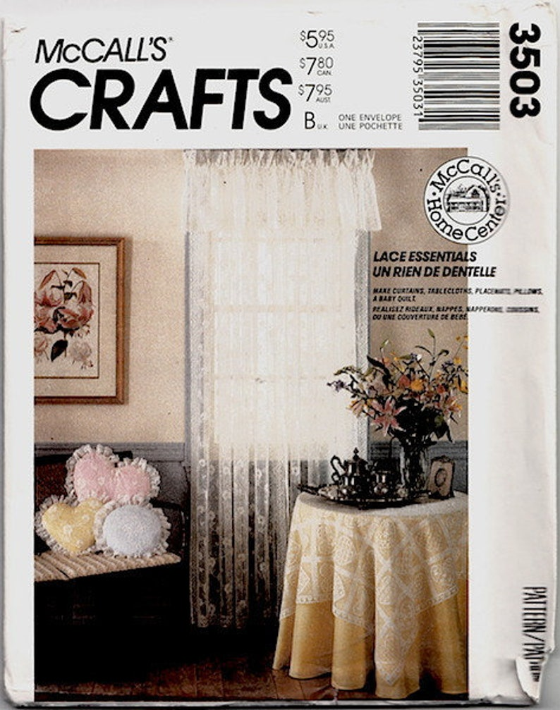 Vintage 1980s Lace Home Decor Uncut Mccalls Sewing Pattern 3503 Tablecloths Curtains Pillows Baby Quilt Placemats