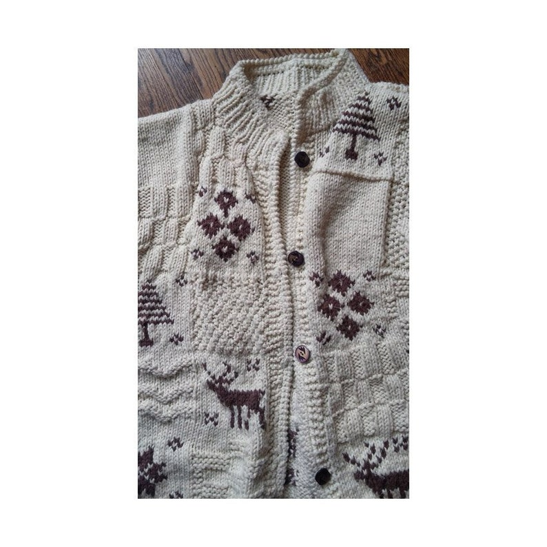 Ladies 80s Hand Knit Winter Sweater Chunky Knit Wool Cardigan Reindeers Trees Stars Diamonds in Boxy Button Up Size Large