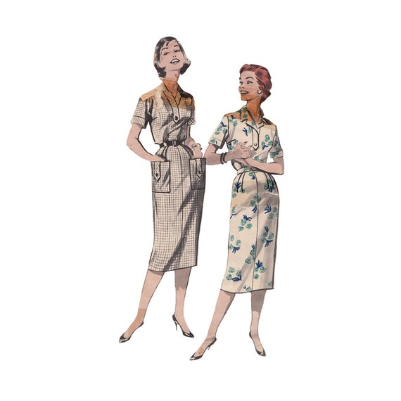 Womens Vintage 50s Dress Bust 43 Plus Size Butterick Sewing Pattern 8512  Slimming Dress with Shirt Styling and Neckline Options