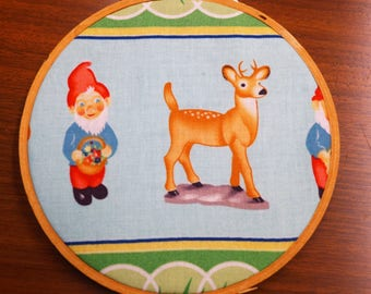 Woodland Deer Ornament, Upcycled Hoop Art, Kitchsy and Cute
