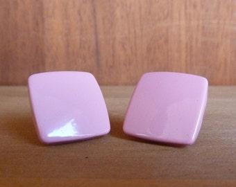 Vintage 1980s Pink Square Enamel Earrings
