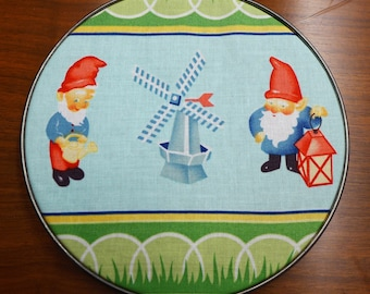 Garden Gnome and Windmill Wall Hanging, Upcycled Hoop Art, Kitchsy and Cute