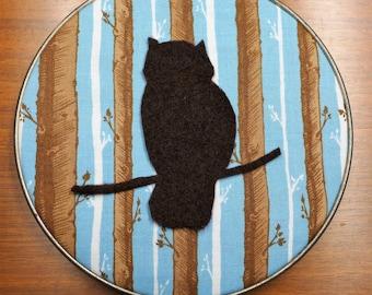 Owl in the Woods, Hoop Art, Needlecraft