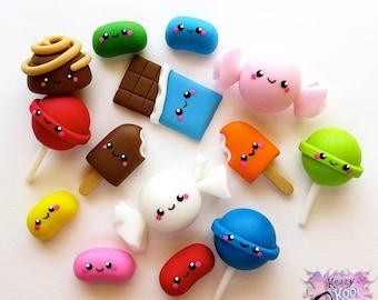 Kawaii Candy Cake And  Cupcake Toppers