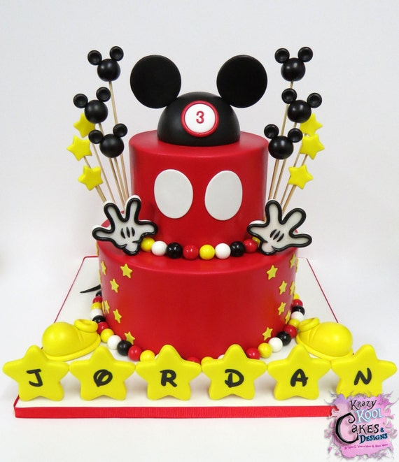 Sensational Mikey Mouse Birthday Cake Decorations Everything You Need To Etsy Personalised Birthday Cards Bromeletsinfo
