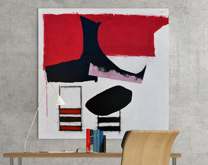 Abstract Art Collage, Original Contemporary Art, Ready to Hang, Acrylic and Board, Red and Black Geometric Shapes on 48x48 in. on Canvas