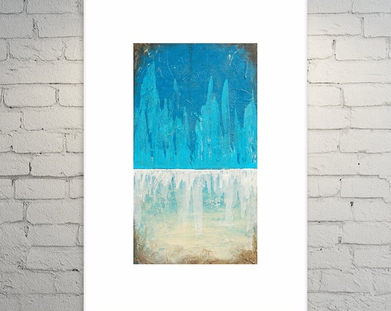 "Abstract Painting Contemporary Landscape """"Glacial Escape"" 18"" x 36"""