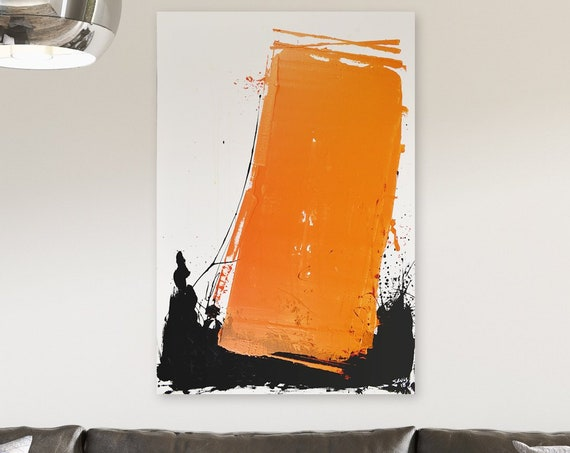 Orange Monolith | Abstract Painting | Large Wall Art