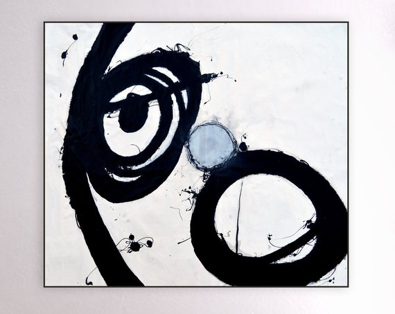 Unified | Large Abstract Art | Black and White Art | Silver Abstract Painting