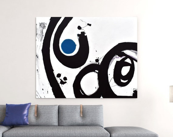 Unified Field | Black, White and Blue Abstract Art