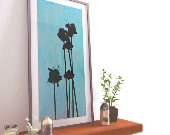 Pop Flowers No. 10 | Abstract Art | Blue Abstract Floral | Abstract Floral Art | Contemporary Art | Mid Century | Poppy Flower | Blue Flower