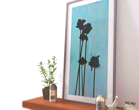 Pop Flowers No. 11 | Abstract Art | Blue Poppy Flowers