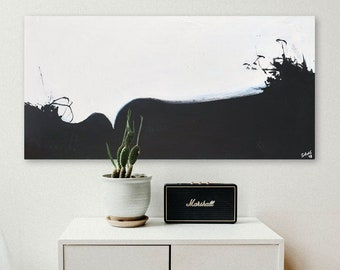 Abstract Painting, Contemporary Abstract Wall Art, Black White,  with a Hint of Blue Abstract Wall Art on Large Gallery Wrapped Canvas