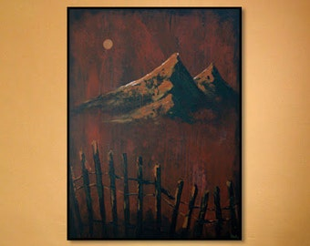 Peaked in Earth, Abstract Mountain Landscape Painting Contemporary Landscape in browns, oranges with rustic feel, Fine Art on Canvas 36x48