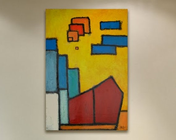 Abstract Firehouse Painting Contemporary City Landscape in browns, oranges, light blues and ochre yellows, Fine Art on Canvas 24x36