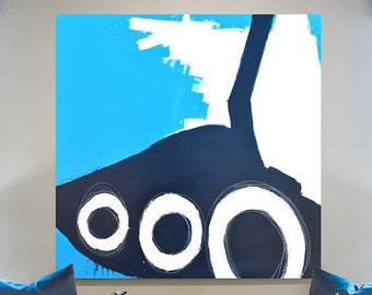 Abstract Painting, Original Contemporary Abstract Art, Blue White Abstract Art on 48x48 in. on Gallery Wrapped Canvas