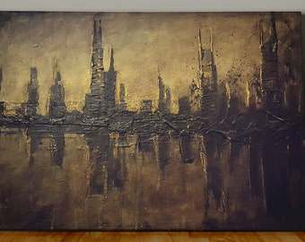Abstract Cityscape Painting Contemporary City Landscape in browns, muted orange highlights and yellows, Fine Art on Canvas 24x18