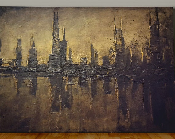 "Original Abstract City Landscape Painting, ""Inter-Urban Absorption"""