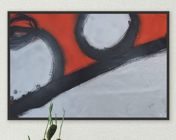 Red Parts Dept. Red Abstract Painting | Modern Art Painting | Urban Art