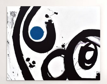 Abstract Painting, Original Contemporary Abstract Wall Art, Black White,  with Blue Accent Abstract Wall Art on Large Gallery Wrapped Canvas