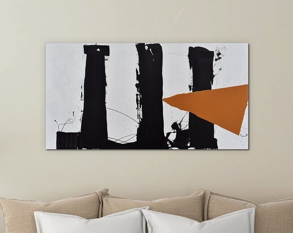 Disruption | Black and White | Abstract Painting | Large Wall Art | Mixed Media Orange | Minimalist Art | Abstract Art | Modern Abstract
