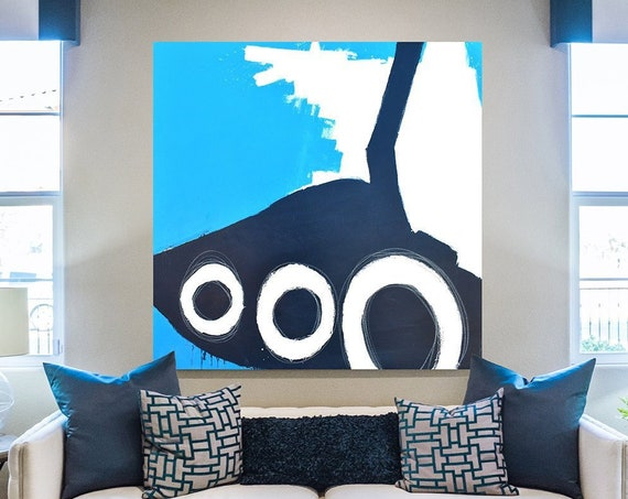 Dive Deep | Blue Abstract Art | Large Wall Art