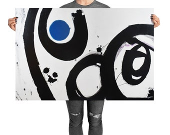 Abstract Art Print, Abstract Expressionism with Blue, Black and White Colors, for your Home Decor, Unified Field, Reset No. 15