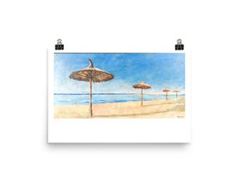 Beach in Spain, Art Print of Acrylic Painting