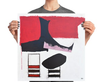 Abstract Red and Black Art Print from original art Wrecked acrylic painting