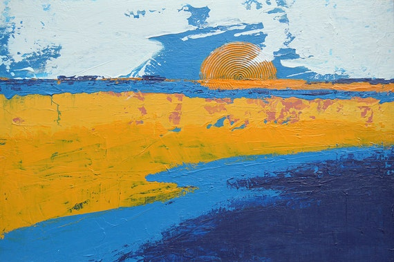 Modern Abstract Landscape Painting Contemporary Yellow Blue Neutral Fine Art on Canvas