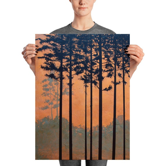 "Landscape of Pine Trees, Original Art Print ""Southern Pines"""