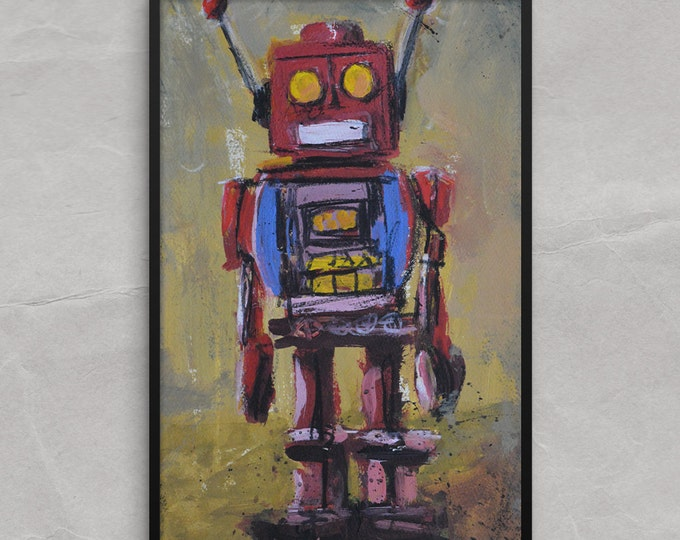 Tin Toy Robot Poster or Framed Print, It is Your Robot