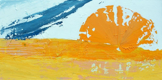 Abstract Painting Modern  Contemporary Yellow Blue Neutral Fine Art on Canvas