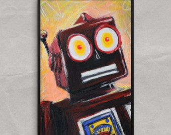 Tin Toy Robot Poster or Framed Print Art Print, Surprised Robot