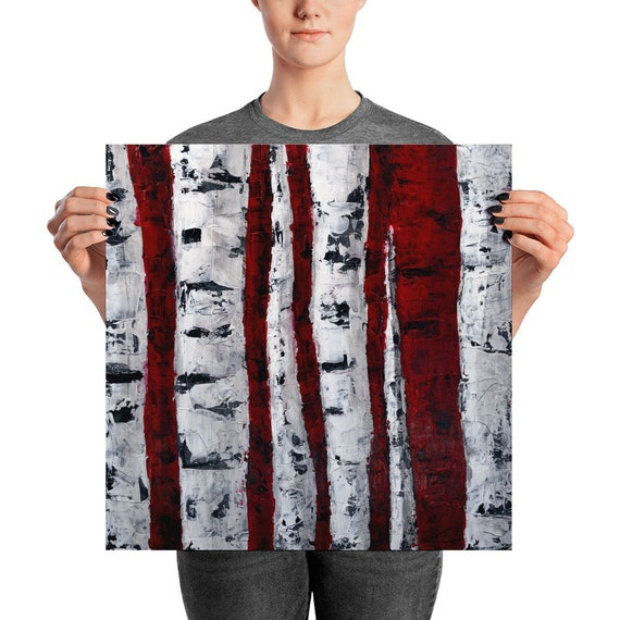 Birch Tree Forest | Art Print | Abstract Art Print