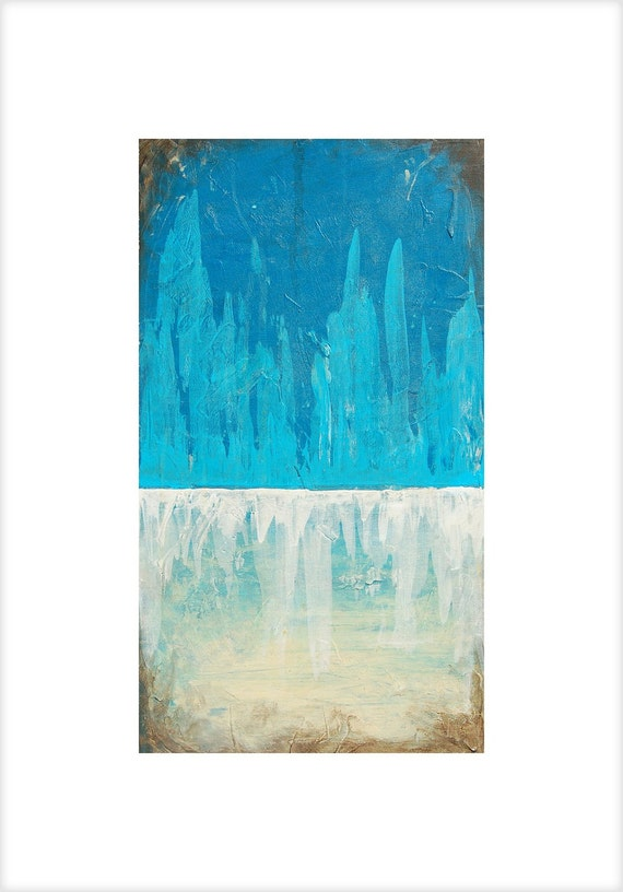 Abstract Landscape Art Print, Blue Acrylic Painting, Winter Mountain Ice Snow Art Poster in 6 different sizes