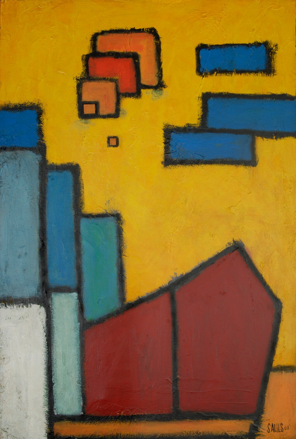Abstract Firehouse Painting Contemporary City Landscape in browns ...