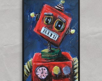 Tin Toy Robot Poster or Framed Print, Sad Toy Robot