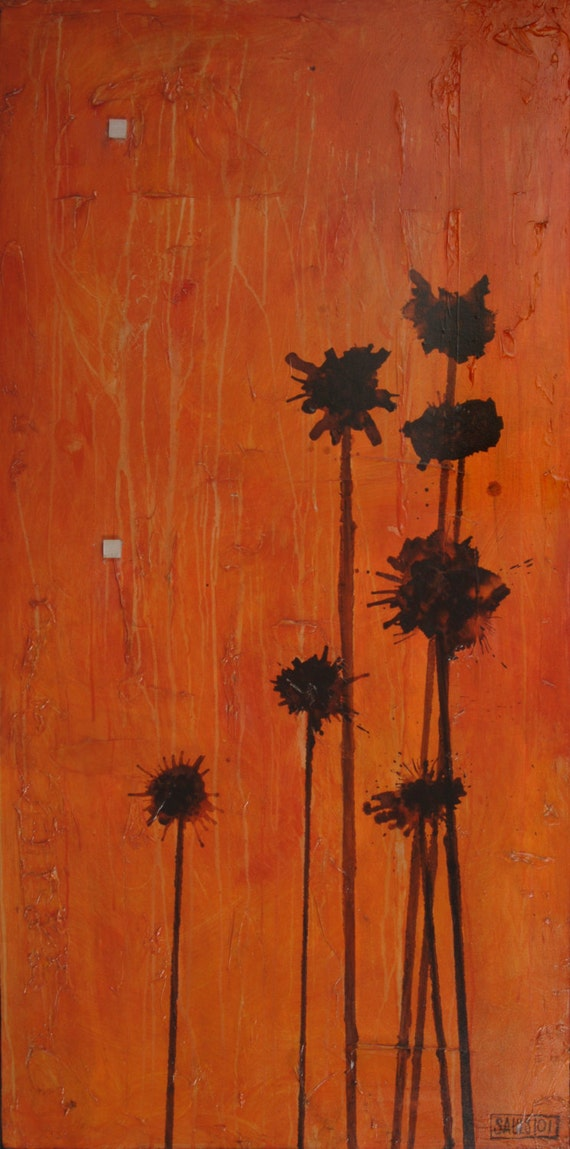Pop Flowers, a modern contemporary abstract poppy flower painting orange fine art on Canvas