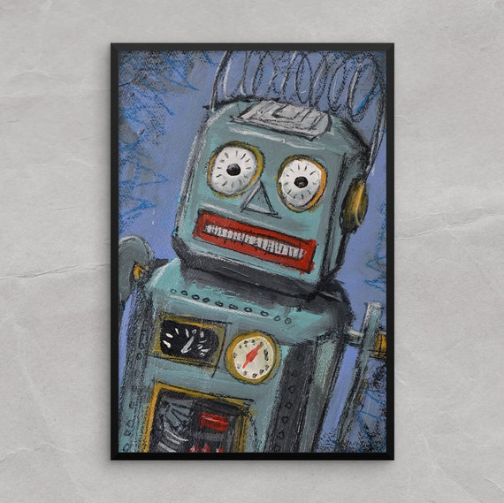 Tin Toy Robot Poster or framed Print, Awkward Tin Toy Robot