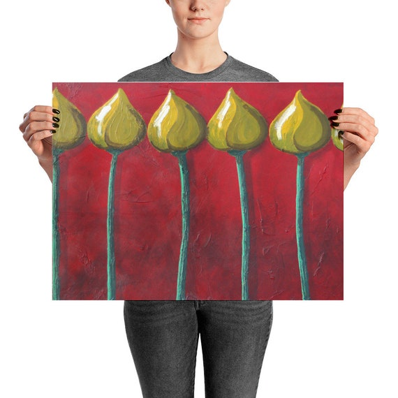 """Flower Buds Art Print, Original Art of Budding Young Yellow Flowers on Burgundy Background """"Flowers Bud in a Row"""""""