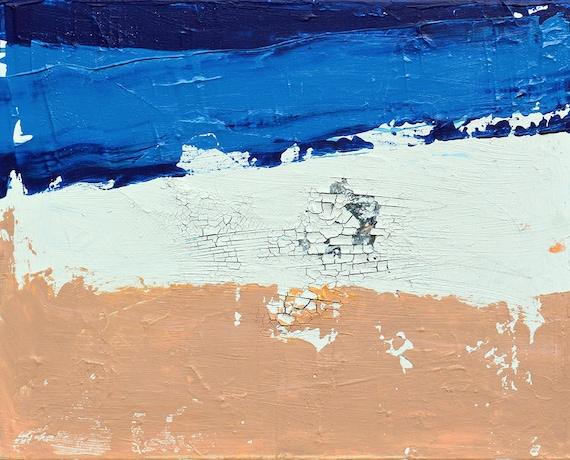 Modern Abstract Painting Contemporary White Blue Neutral Fine Art on Canvas