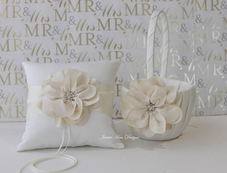 Ring bearer pillow and flower girl basket set