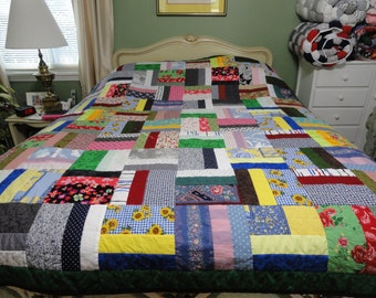 Hand Quilted Scrap Quilt 67x82 by Karrirose